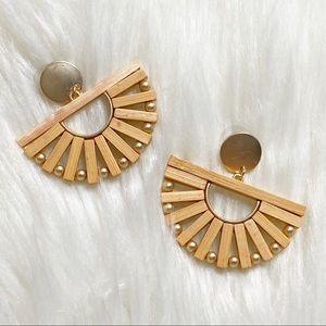 Boho fan wooden fan shaped earrings